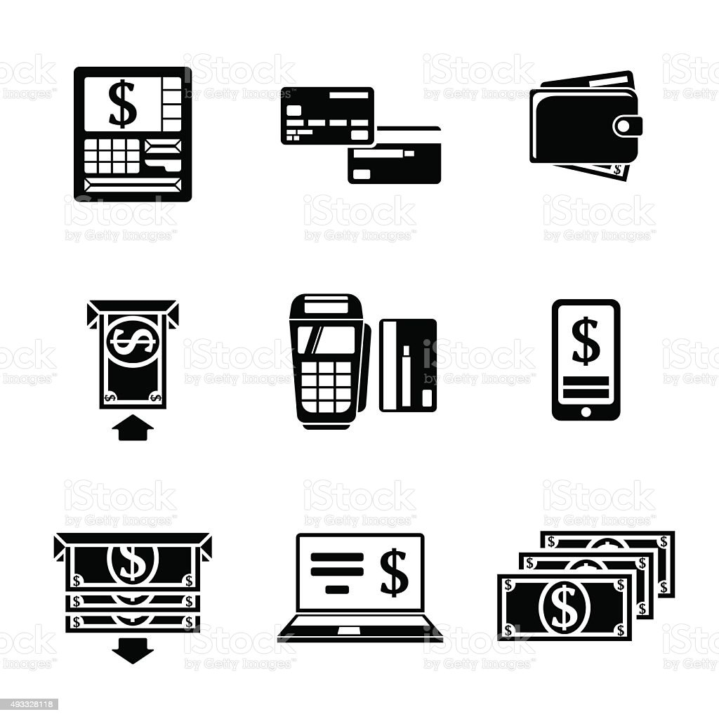 Set of ATM monochrome icons with - ATM, cards, wallet vector art illustration