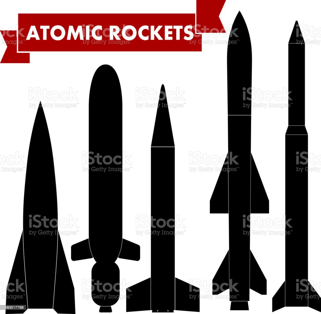 Set of atomic rockets. Vector illustration vector art illustration