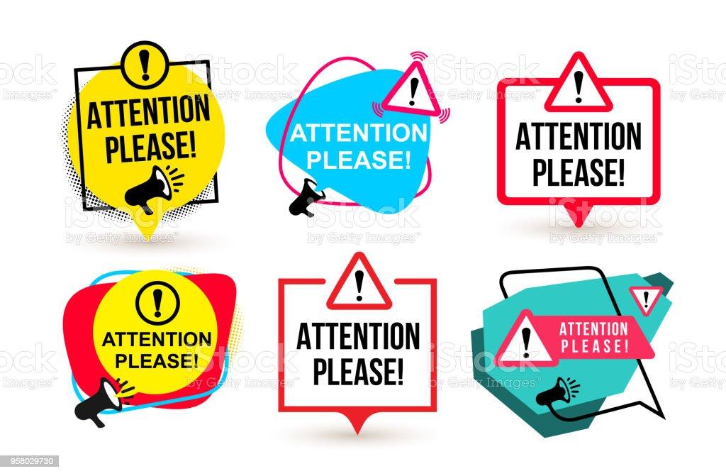 Set of Attention please. Badge with megaphone icons. Flat design. Vector illustration. Isolated on white background - Grafika wektorowa royalty-free (Analizować)