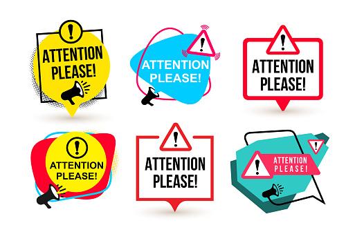 Set Of Attention Please Badge With Megaphone Icons Flat Design Vector Illustration Isolated On White Background - Stockowe grafiki wektorowe i więcej obrazów Analizować