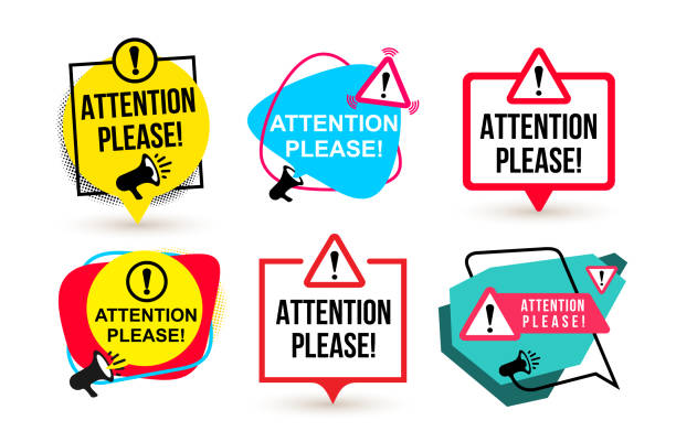 set of attention please. badge with megaphone icons. flat design. vector illustration. isolated on white background - patrzeć stock illustrations