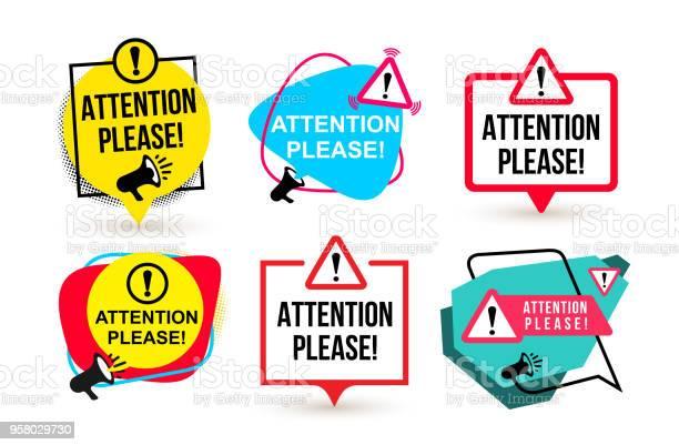 Set Gelieve Aandacht Badge Met Megafoon Pictogrammen Platte Ontwerp Vectorillustratie Geïsoleerd Op Witte Achtergrond Stockvectorkunst en meer beelden van Advertentie