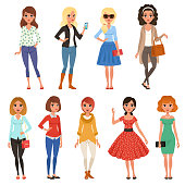 Set of attractive girls dressed in fashionable casual clothes with accessories. Full-length of cartoon female characters. Young women posing with cheerful face expressions. Isolated flat vector design