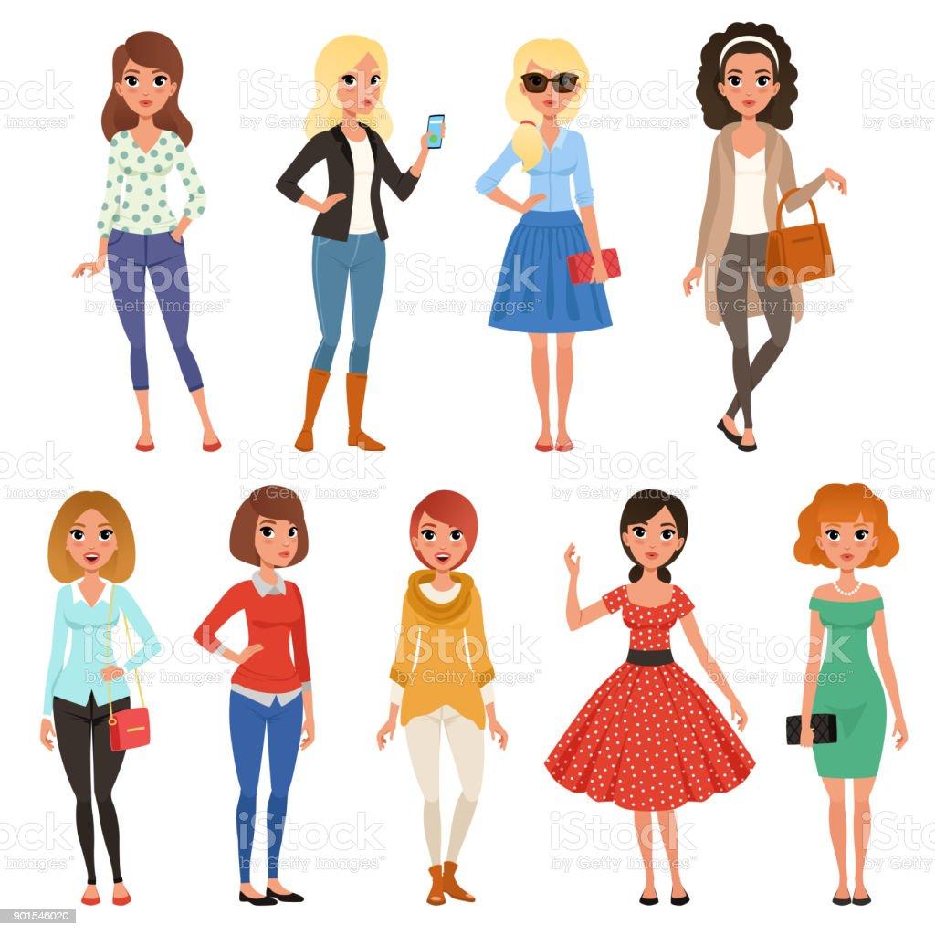 Satz von attraktiven Mädchen in modische Freizeitkleidung mit Zubehör. Abendfüllende Zeichentrickfilm Frauenfiguren mit fröhlichen Gesicht ausdrücken. Flache Vektor-design – Vektorgrafik