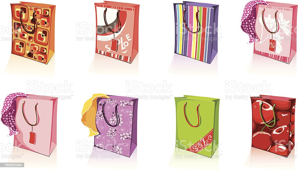 Set of attractive shopping bags vector art illustration