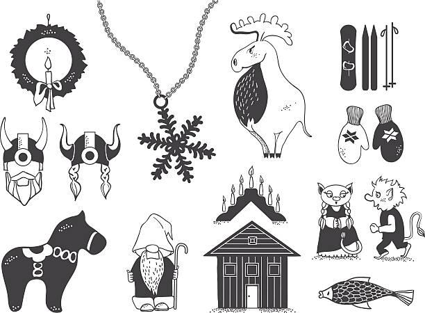 bildbanksillustrationer, clip art samt tecknat material och ikoner med set of attributes of the scandinavian countries.set with design elements of symbols - älg sverige