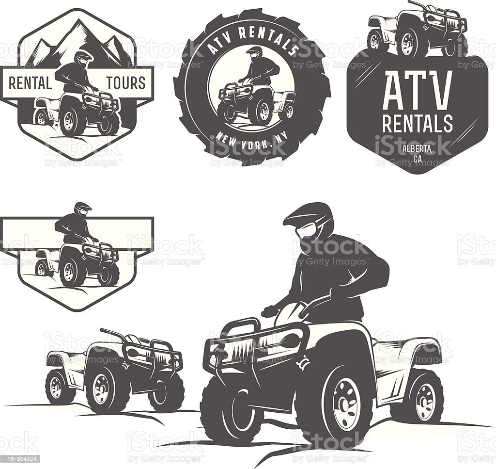 Set of ATV labels, badges and design elements vector art illustration