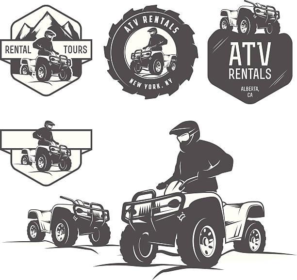 satz von atv-etiketten, abzeichen und design-elemente - fahrzeug fahren stock-grafiken, -clipart, -cartoons und -symbole