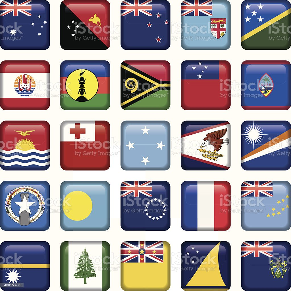 Set of Australian, Oceania Squared Flag Icons royalty-free stock vector art