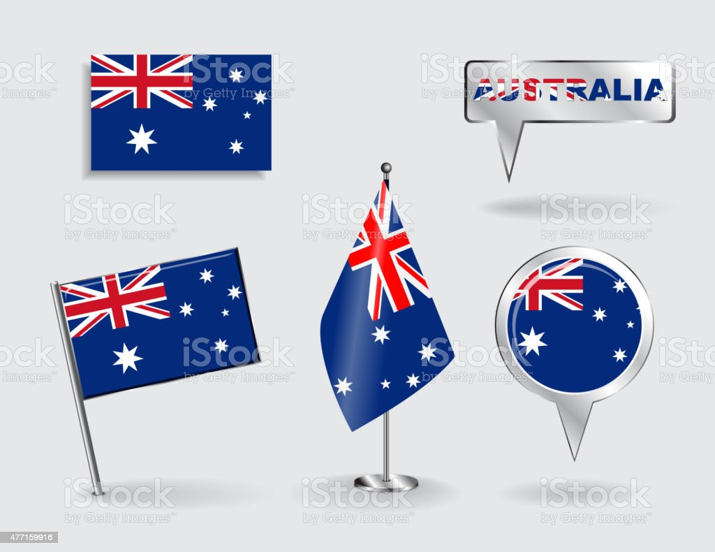 のオーストラリアピン、アイコンおよびマップポインターフラグです。ベクター ベクターアートイラスト
