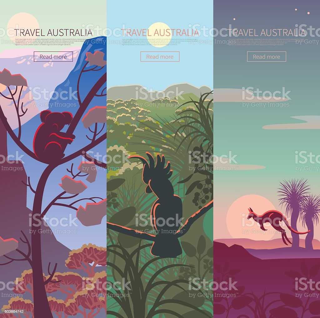Set of Australian travel posters