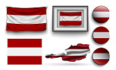 set of austria flags collection isolated on white