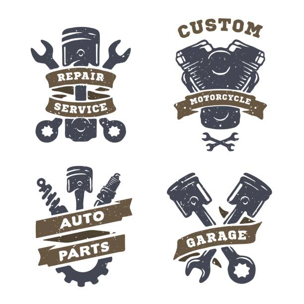 Set of auto logos, garage, service, spare parts. vector art illustration