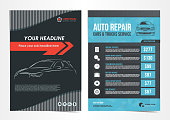 Set of Auto Repair Cars & Trucks Service layout templates, brochure, mockup flyer. Vector illustration.