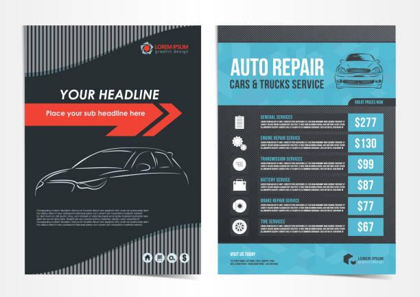 stockillustraties, clipart, cartoons en iconen met set van auto reparatie auto's & trucks service lay-out templates, brochure, flyer mockup. vectorillustratie. - motorvoertuig