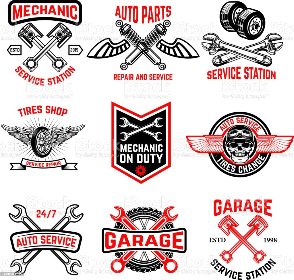 Set of auto service emblems. Auto parts, tires shop,mechanic on duty. vector art illustration