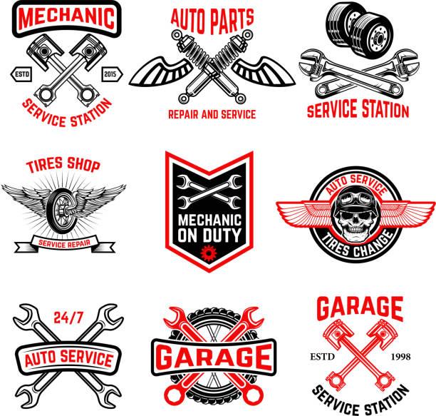 Set of auto service emblems. Auto parts, tires shop,mechanic on duty. vector art illustration