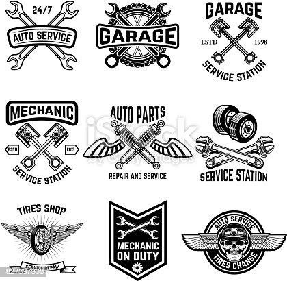 Set of auto service emblems. Service station auto parts tires shop mechanic on duty. Design elements for label, emblem, sign. Vector illustration