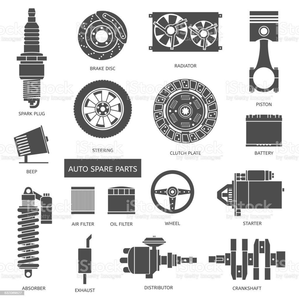 Set of auto spare parts vector art illustration