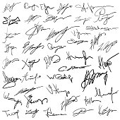 Set of autographs on paper