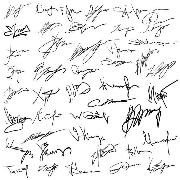 satz von autogramme auf papier - unterschrift stock-grafiken, -clipart, -cartoons und -symbole