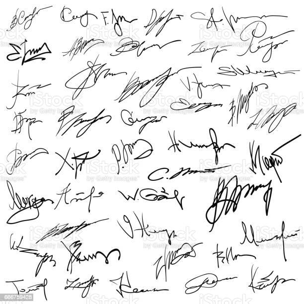 colorful illustration with Set of autographs on a white paper background