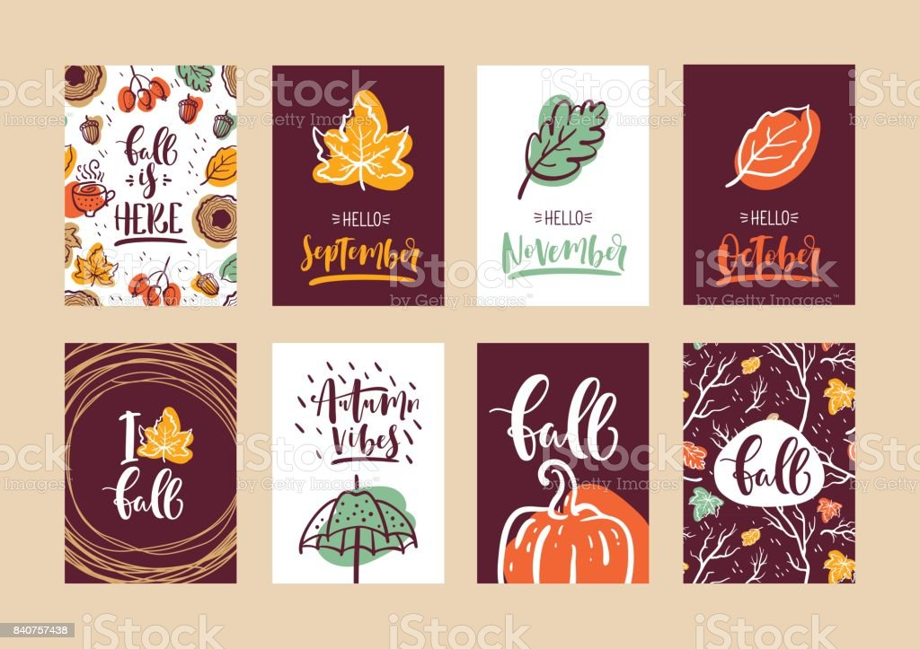 Set of autumn calligraphy cards. Design for poster, card, invitation, placard, brochure, flyer. Vector templates. vector art illustration