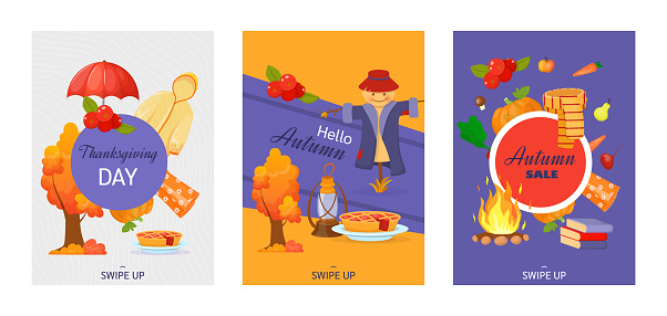 Set of autumn decorative posters for social media stories. Hello autumn, thanksgiving, autumn sale. Colorful banners, use for invitation, discount voucher, advertising, flyers