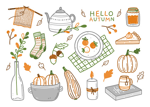 Set of autumn elements - warm socks, teapot with a cup, pumpkins, jam, pumpkin pie, candle, acorns and others. Hand-drawn vector doodle illustration. Perfect for cards, holiday designs, decorations.