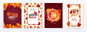 Colorful fall leaves and advertising discount text. Vector backgrounds design.