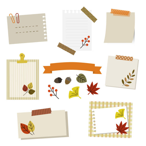 set of autumn leaf and papers The file is vector eps 10 illustration. masking tape stock illustrations