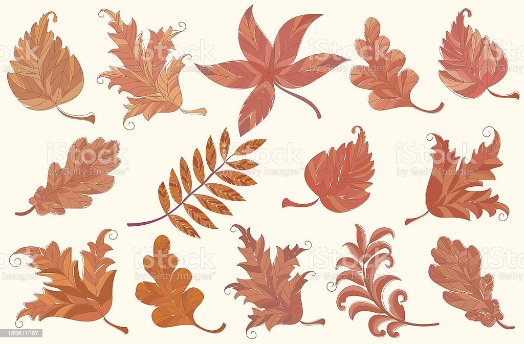 Set of autumn leaves royalty-free stock vector art