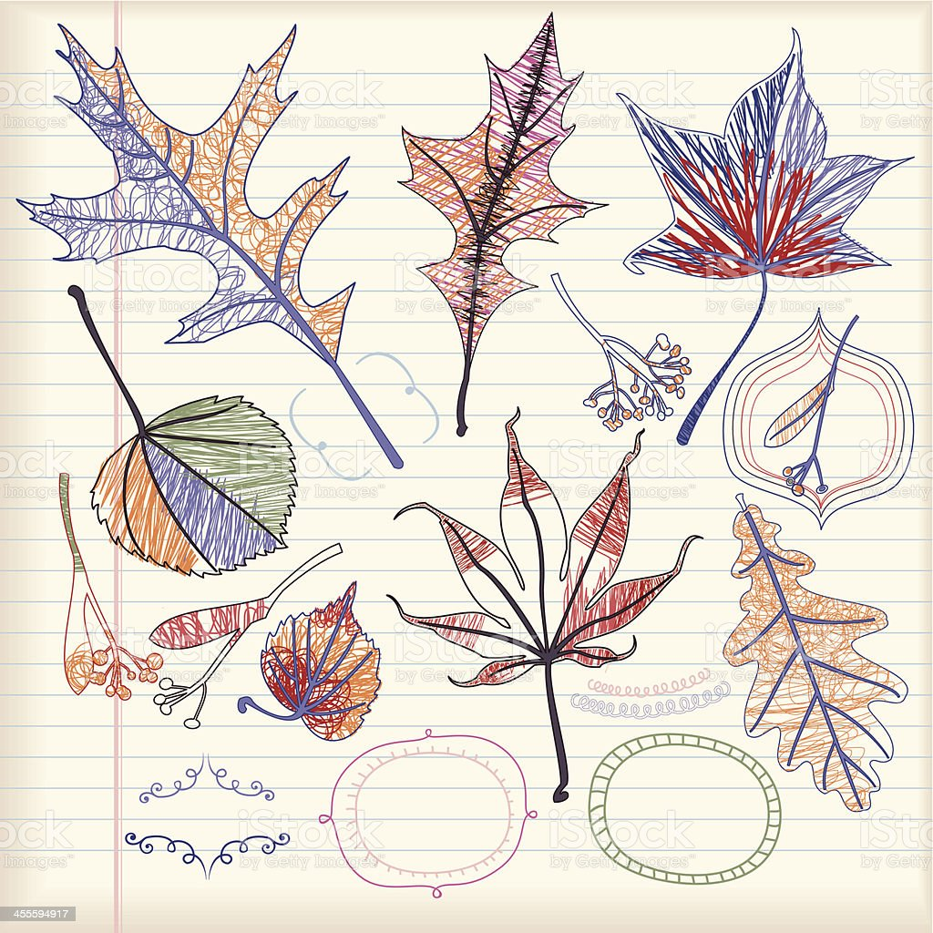Set of Autumn Leaves (Doodle) royalty-free set of autumn leaves stock vector art & more images of abstract