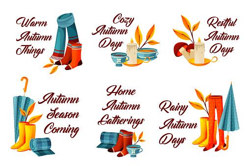 Set of autumn or fall decorative phrases set