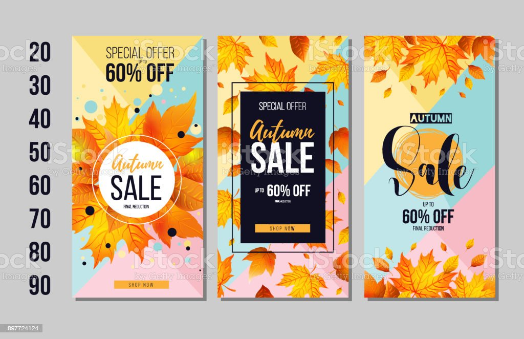 set of autumn sale flyer template with lettering orange leaves fall