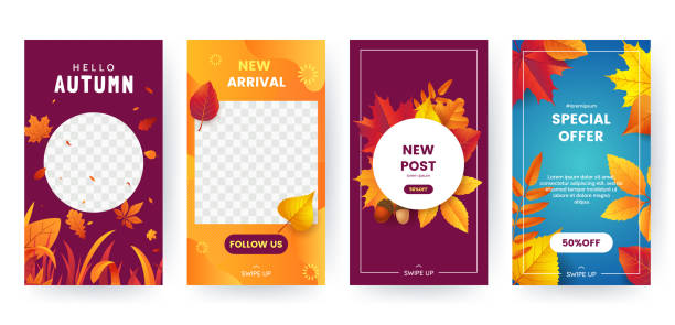 set of autumn social media stories. colorful autumn banners with fallen leaves and yellowed foliage. backgrounds collection. template for event invitation, product catalog, advertising. vector eps 10 - autumn stock illustrations