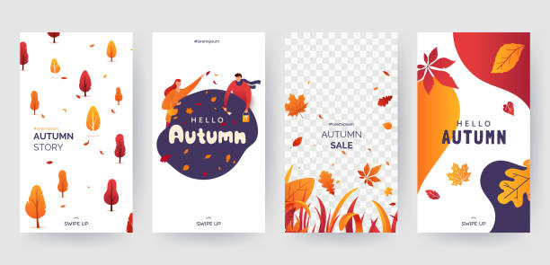 Set of autumn social media stories template. Colorful banners with autumn illustrations. Background collection with place for text. Concept for event invitation, promotion, advertising. Vector eps 10 vector art illustration