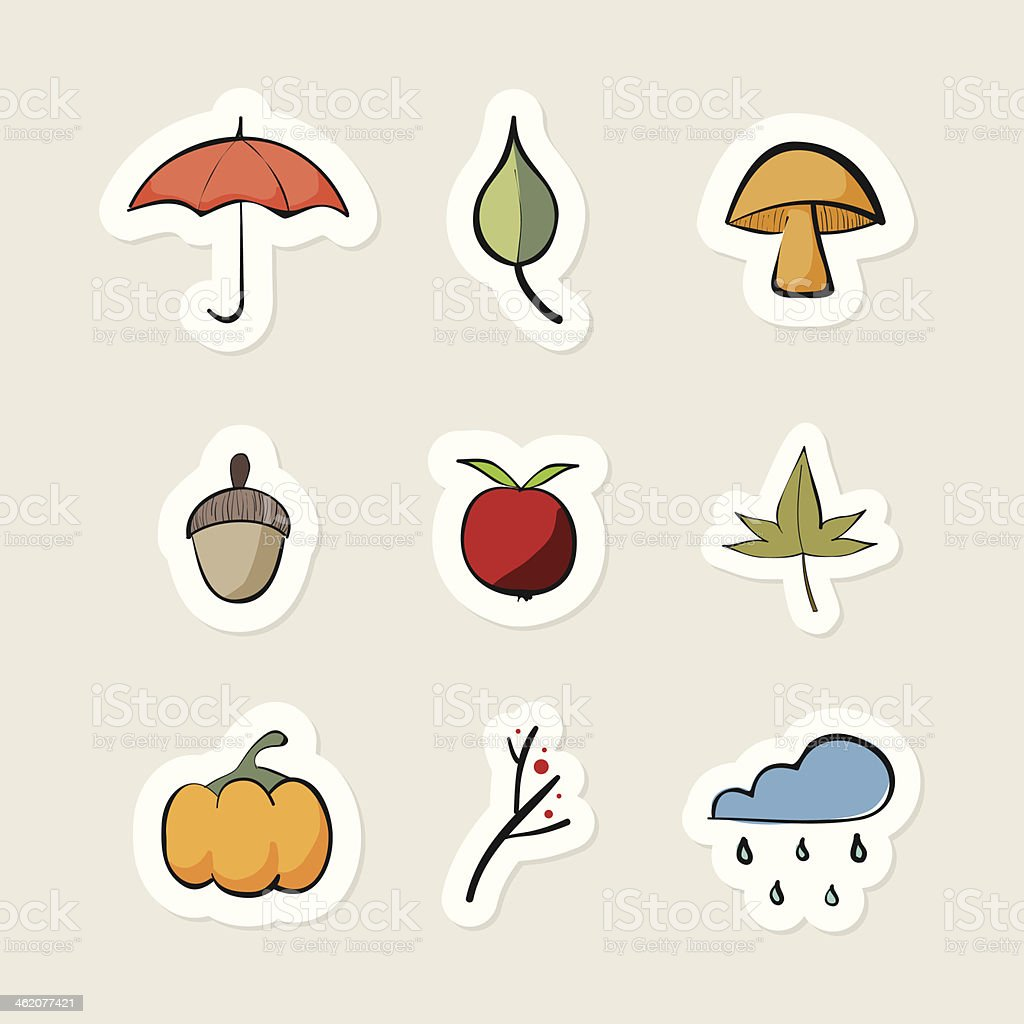 Set of autumn stickers royalty-free stock vector art