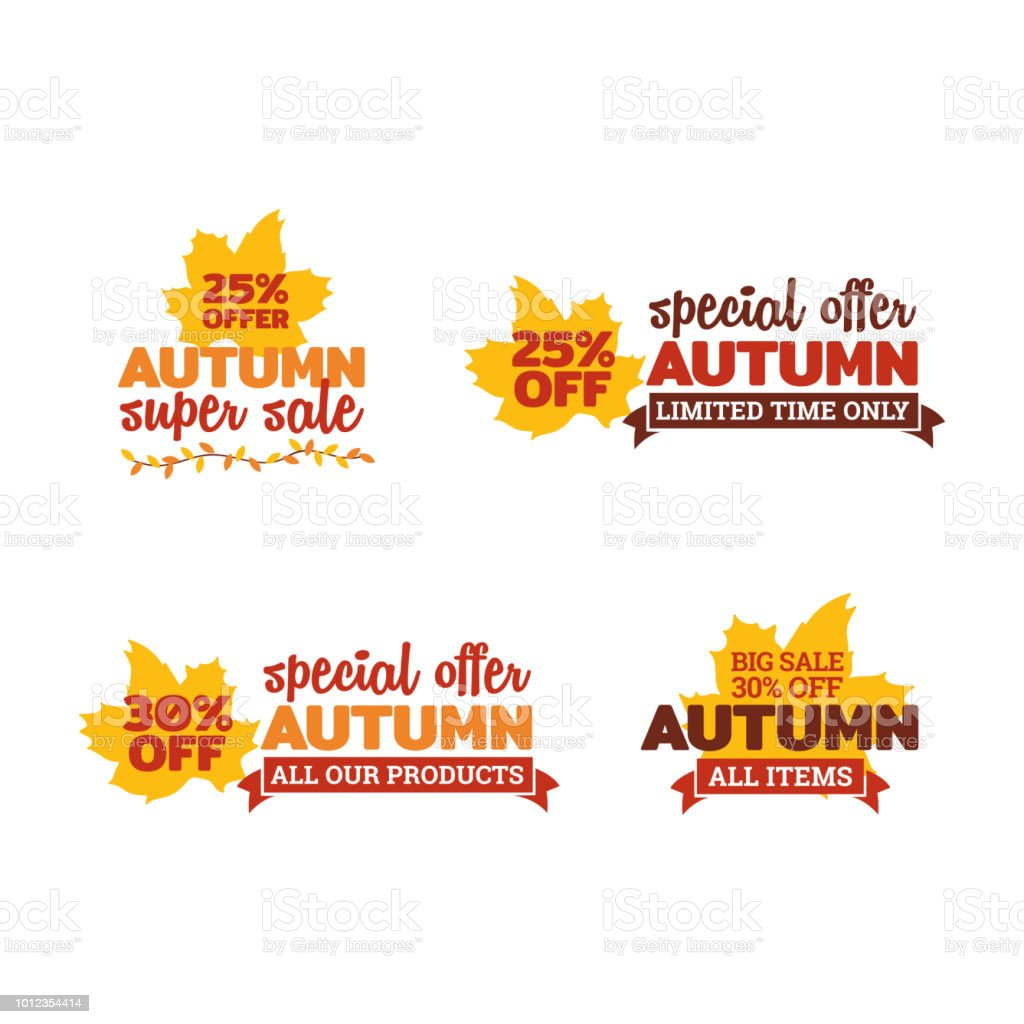 Set Of Autumn Super Sale Typography Badge With Dry Leaf And Ribbon