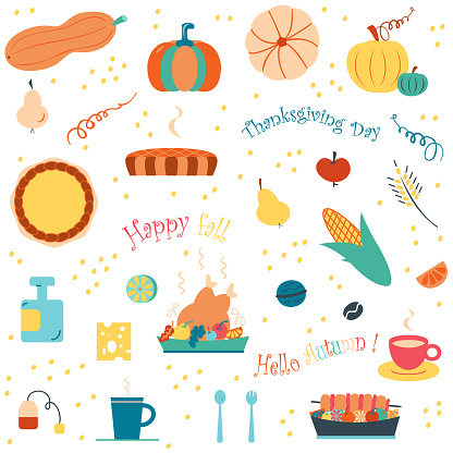 Set of autumn symbols. Vector elements of  thanksgiving day, hello autumn, happy fall season on white background. Seasonal flat clip art for website design or creating a postcard, poster, cover, tag, invitation, children's stickers