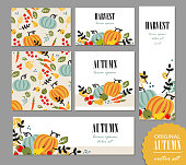 Set of autumn templates. Leaflet, greeting card, banner, poster with vegetables, fruits, berries and leaves. Vector illustration for promo, sales campaign advertising.