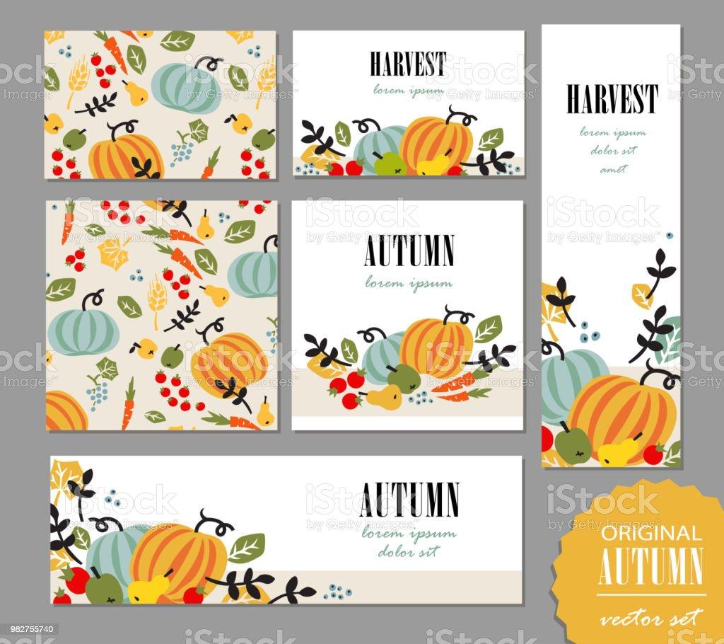 秋のテンプレートのセット。リーフレット、グリーティング カード、バナー、ポスターと野菜、果物、果実、葉します。ベクトル イラスト プロモーション、キャンペーン広告。 ベクターアートイラスト