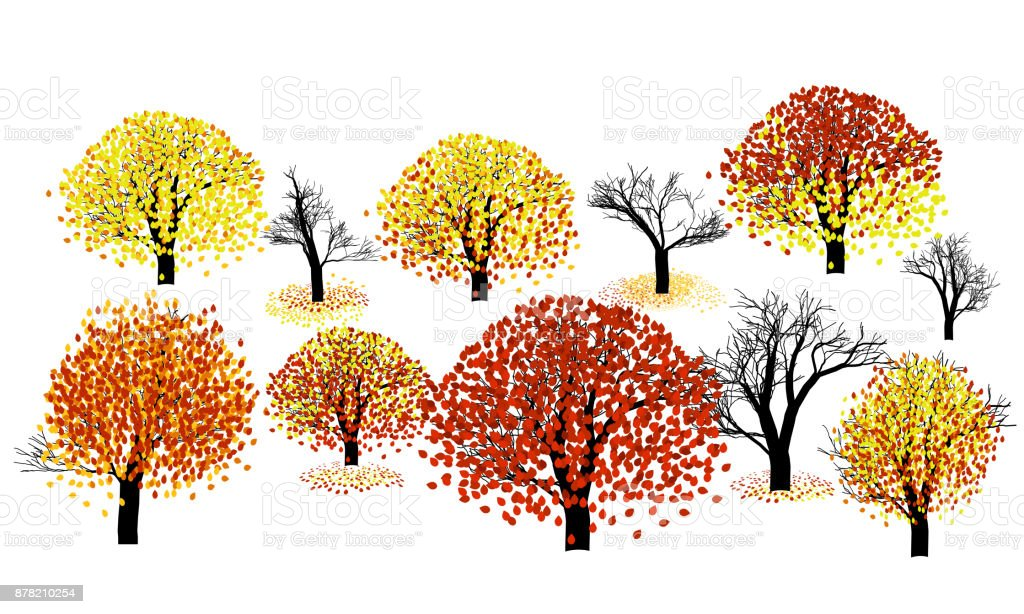 Set of autumn trees vector art illustration