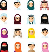 Set of avatar arab people in flat colorful style