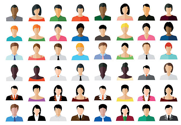 stockillustraties, clipart, cartoons en iconen met set of avatar color icons - illustration - etniciteit