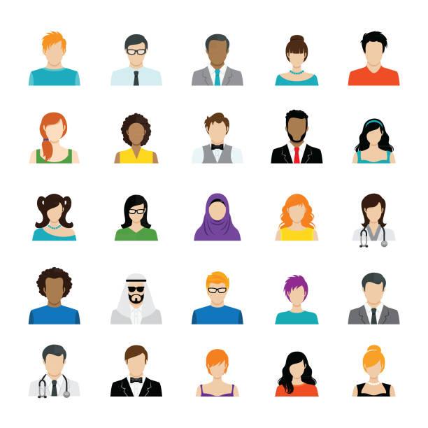 ilustraciones, imágenes clip art, dibujos animados e iconos de stock de conjunto de iconos de avatar color - asian woman