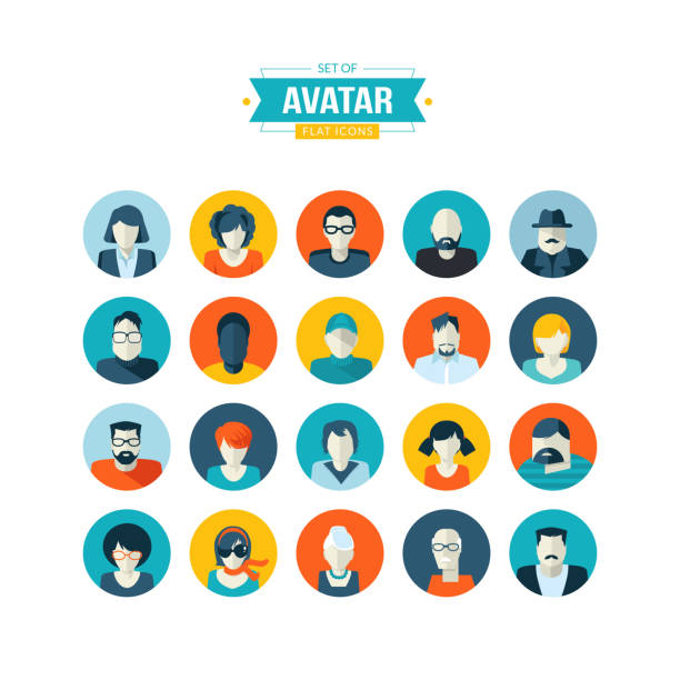 set of avatar flat design icons - old man computer silhouette stock illustrations, clip art, cartoons, & icons