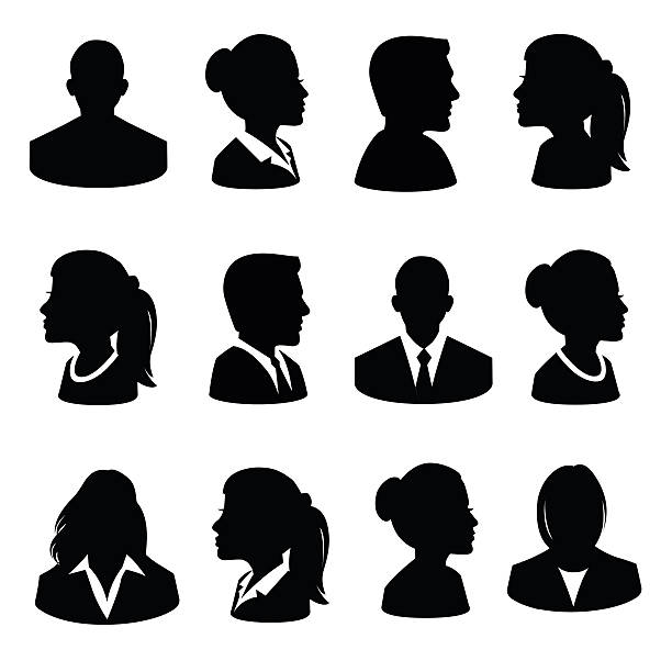 set of avatar flat icons - illustration - old man computer silhouette stock illustrations, clip art, cartoons, & icons