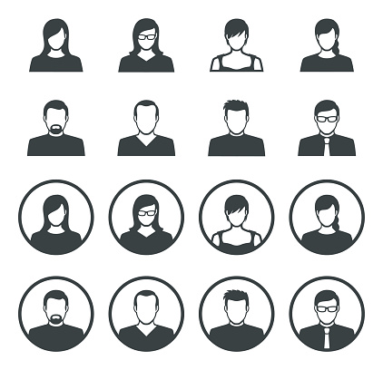 Vector illustration of the 16 set of avatar flat icons