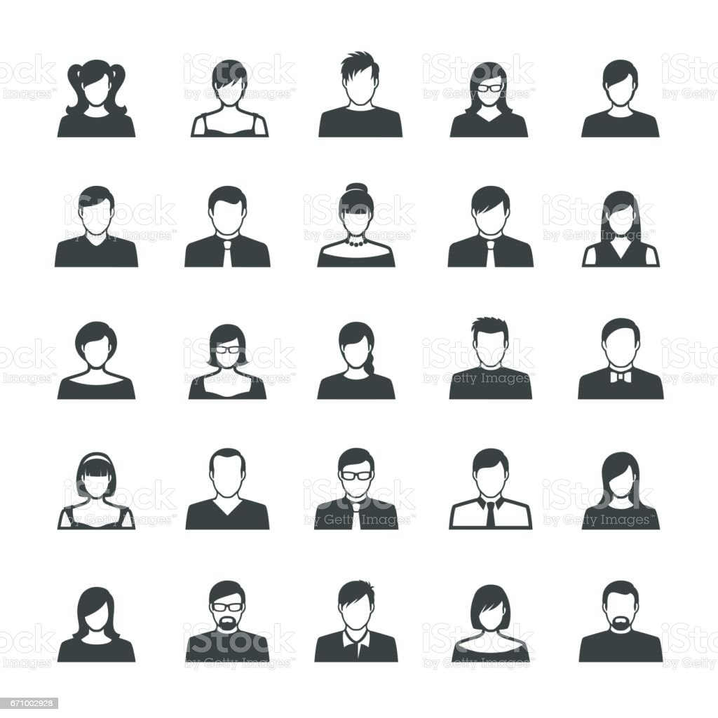 Set of Avatar Flat Icons vector art illustration